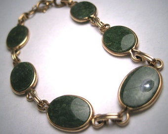 Antique Gold Jade Bracelet Vintage Art Deco 1930's Green Gemstone