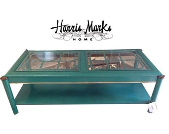 Teal Lacquer Cocktail Table Coffee Table Fretwork Asian Chinoiserie Vintage Hollywood Regency Brass