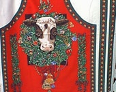 Christmas Cow - fabric panel