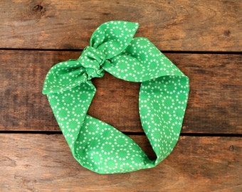 green stars headscarf, retro, tie up headband, adjustable, summer fall fashion, knotted headband, under 15, stocking stuffer