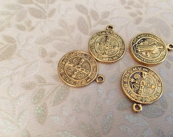 Vintage Style Aged antique Gold Rosary style repurpose MINI cross saint medals 4 pcs.