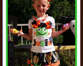 Halloween Monster Shirt / Personalized Halloween Shirt for Girls - Toddler Youth Girls