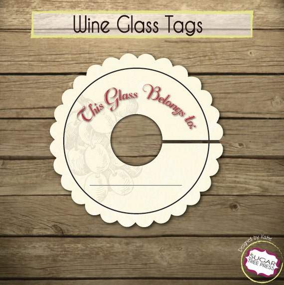 Shocking image with printable wine glass tags