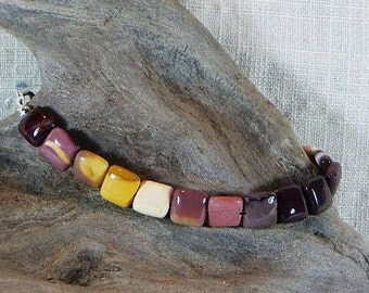 """Multicolored mookaite jasper bracelet 8"""" colorful red purple yellow squares semiprecious stone jewelry packaged in a gift bag 11602"""