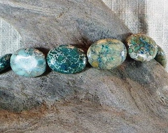 """Teal blue green and brown sea sediment jasper bracelet 7.75"""" long turquoise aqua semiprecious stone jewelry packaged in a gift bag 11487"""