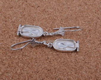 Egyptian Sterling Solid Silver Ankh Life key In Cartouche Earrings