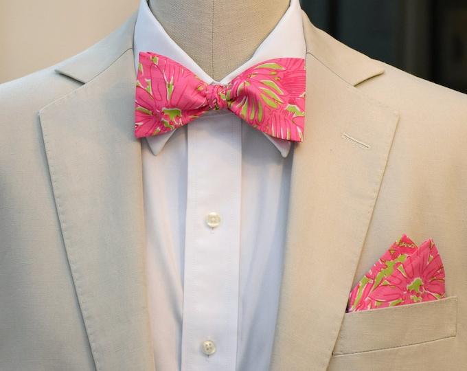 Men's Pocket Square & Bow Tie set in Lilly pink green Secret Garden, wedding party wear, groomsmen gift, groom bow tie set, men's gift set,