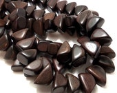 Tiger Ebony, Dark, Pyramid Nugget, Triangle, Banded, Natural Wood Beads, Smooth, 10x20mm, Large, Half Strand - ID 1663-DK