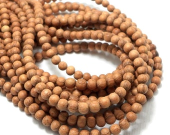 Unfinished Bayong Wood, 4mm-5mm, Round, Smooth, Natural Wood Beads, Full strand, 90pcs - ID 2097