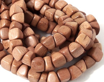 Rosewood, Kiss, 10mm, Side Drill, Small Pyramid, Triangle, Natural Wood Beads, Full Strand, 50pcs - ID 2114