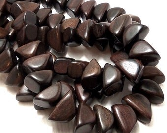 Tiger Ebony, Dark, Pyramid Nugget, Triangle, Banded, Natural Wood Beads, Smooth, 10x20mm, Large, 8 Inch Strand - ID 1663-DK