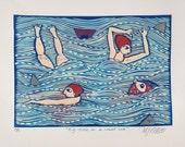 linocut, Big Fish in a small sea, blue, red, fish, sky blue, navy blue, swimmers, shark, beach house, home interior, humor, seascape, ocean