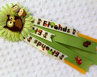 Baby Shower Mom to be Mum Woodland Animals Owl Welcome Baby Ribbons