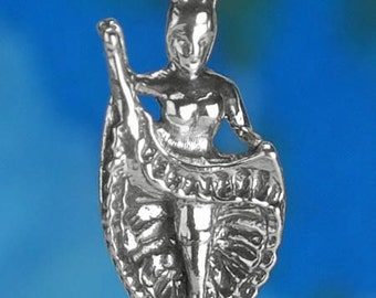 Sterling Silver Cancan Dancer Charm Can-Can Dance Paris 3D Solid .925