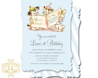 Tiny Trio Birthday Collection Invitations by Loralee Lewis