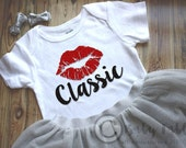 Red Lip Classic bodysuit gold glitter baby shirt baby girl glitter shirt Baby Fashionista Trendy Hipster Black and Red Newborn, baby girl