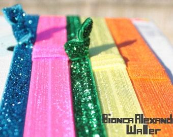Rainbow Colors Elastic Headband Set. Glitter Elastic Headbands. 3/8 inch Glitter Headband. 5/8 inch Elastic Headbands Baby Headbands.