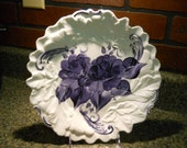 Porcelain Kitchen Platter Hand painted Midnight Blue Rose design