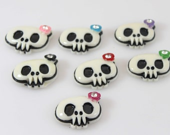 Wholesale 25 mm Sugar Skull Cabochons with Flower  - Wholesale Skull Resin- Headband Supplies - Set of 7