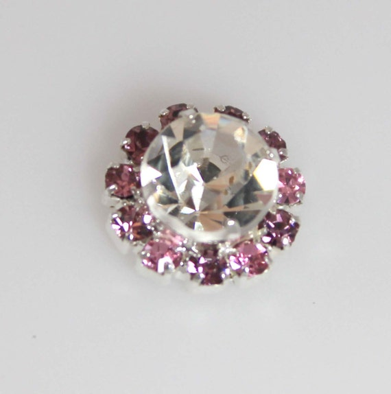 Lavender & Pink Rhinestone 12 mm Embellishments -  Set of 2, 4 or 5 - Flower Centers - Rhinestone Embellishments