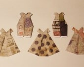 """Three Small Origami Dresses about (4 1/2"""" x 5"""") and  Two Dungarees or Overalls (4 1/2"""" x 3"""")"""