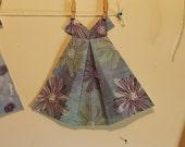 Large Origami Dress purple blue large floral pattern