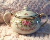 Vintage sugar bowl, pink roses, Japan, cottage, rose china, ECS, hand painted, gold paint
