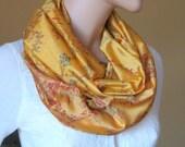 Scarf Beautiful Sari Scarf Versatile Upcycled VINTAGE Sari - floral yellow mustard - autumn winter accessories