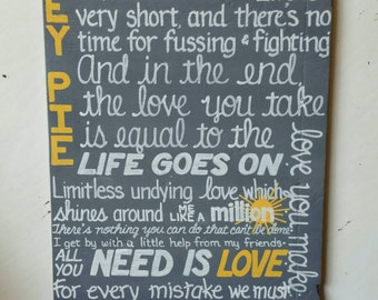 New BEATLES Lyrics SIGN #2 Subway Distressed Grey Yellow Honey Pie All you need is Love  Handmade Hand-painted Wooden Custom 18x36 Whagn