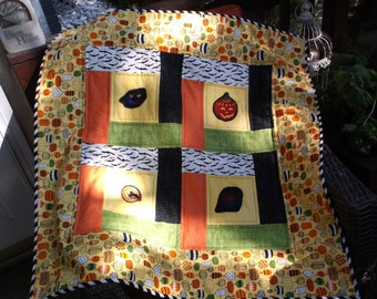 Halloween table topper quilted topper mini quilt appliqued topper