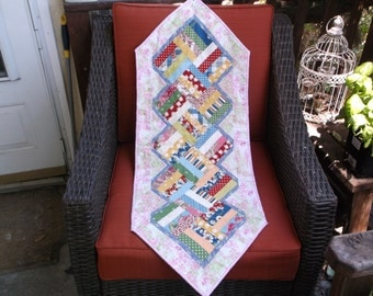 Patchwork table runner quilted runner primary colors table runner