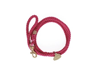 SALE Hand-dyed Cotton Rope Dog TRAFFIC Leash, Raspberry
