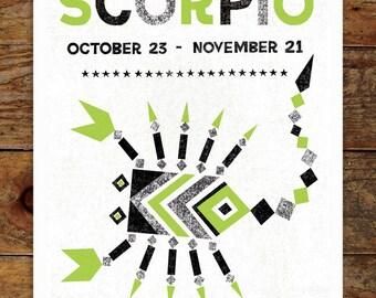 11x14 Zodiac, Green & Black, Scorpio Art Print, Modern, Geometric, Typography, Illustration