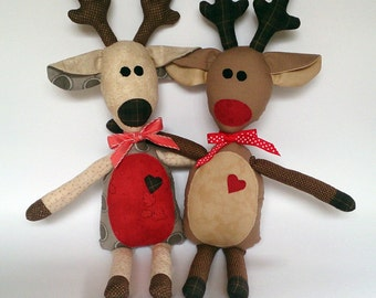 Reindeer, Rudolph, softie, soft doll, PDF Sewing Pattern Direct Download