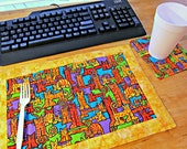 Quilted Placemat, Cat Placemat, Cat Decor, Office Decor, Single Placemat, TV Tray Placemat, Desk Placemat,