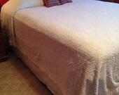 Vintage Light Blue Cotton Summer Bedspread Full Size
