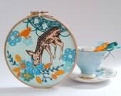 Little fawn embroidery kit tutorial. DIY  hoop art. Deer, bird and flower. Modern embroidery. DIY wall art. Home decor. Craft Kit