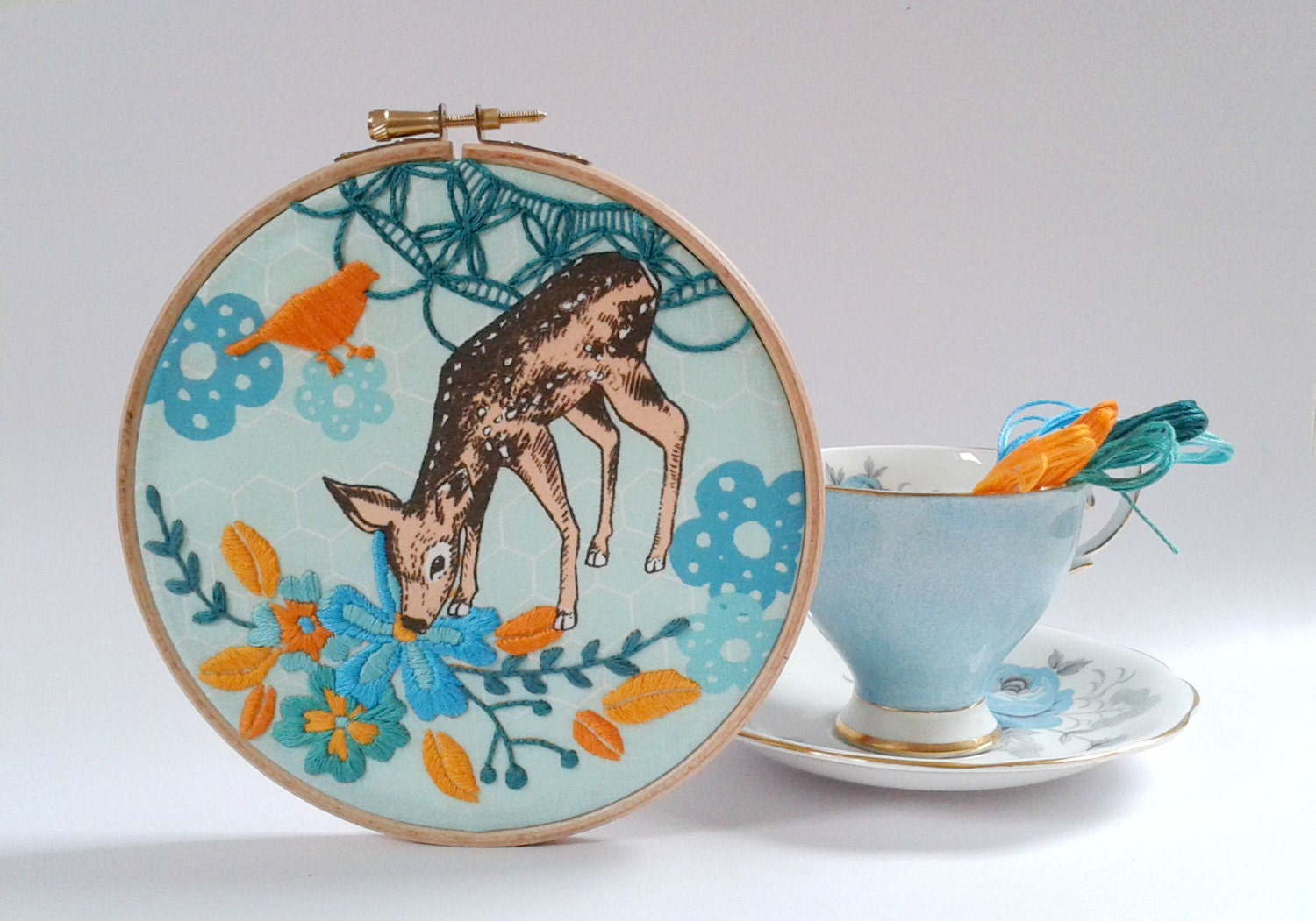 Little Fawn Embroidery Kit Diy Hoop Art Deer Bird And Flower Pattern Modern Embroidery Diy