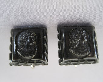 Vintage Silver Jet Square Cameo Earrings