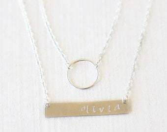 Sterling Silver Mini Circle and Name Plate Bar Layering Necklaces Set // Everyday modern simple jewelry