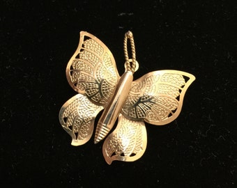 Gold Tone Butterfly Metal Insect Brooch Pin