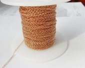 10 FT Rose gold plated sterling silver cable chain (1.5x2mm), Rose gold plated sterlig silver chain, Rose gold vermeil