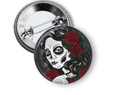 """Dia De Los Muertros Girl with Red Roses  1"""" Pinback Button"""