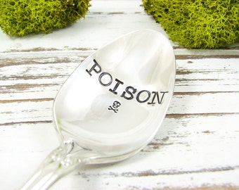 Poison Stamped Spoon. Halloween Coffee Spoon. Hand Stamped Vintage Silverware for Holiday Table Decor and Gift Giving. 472SP