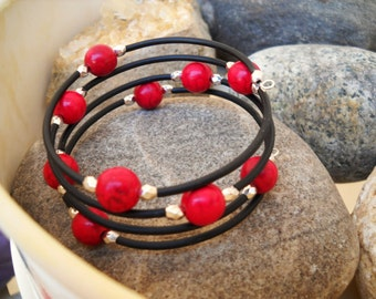 Boho Style Dyed Ruby Turquoise Silver and Black Pony Bead Tubing Memory Wire Bracelet
