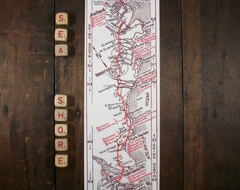 Portland Maine to Portsmouth New Hampshire Vintage Strip Map Unique Gift Wall Decor