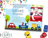 Car and Truck Invitation - LITTLE CARS and TRUCKS Birthday Invitation Transportation Invitation - First Birthday Invitation Car Invitation