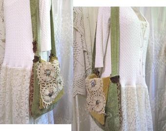 SALE boho bag, messenger Bag style, bohemian bag, handmade thick chenille upholstery fabric bag, earthy hippie bag, granny bag, boho bag