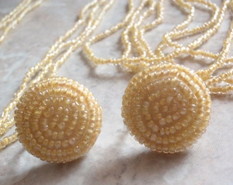 Yellow Seed Bead Earring Necklace Set Long Triple Strand Clip On Vintage 120513UP