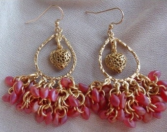 Red Heart Earrings Beaded Gold Matte Red Magatama Hand Made